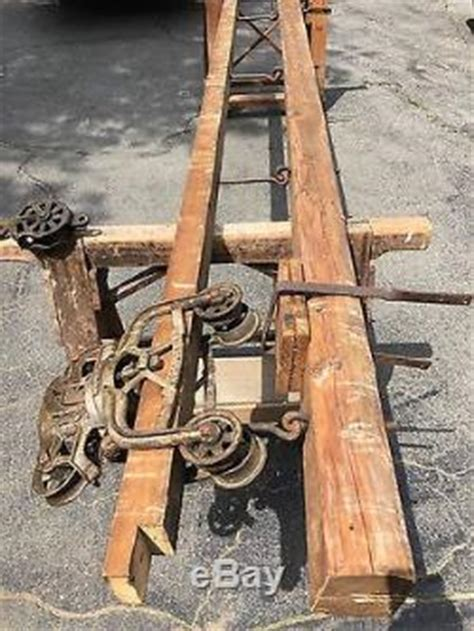 Antique Unloader Hay Trolley 14' Wood Track & Beam From
