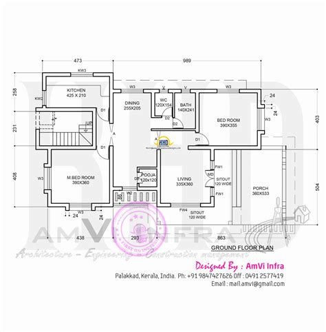 ground floor house design floor plan and elevation of sloping roof house home