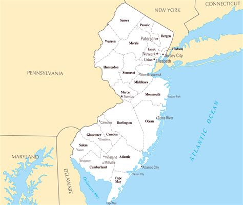 map of with major cities large administrative map of new jersey state with major