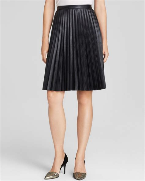 black leather pleated skirt calvin klein faux leather pleated skirt in black lyst