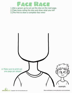 kindergarten activities my face face race game worksheet education com