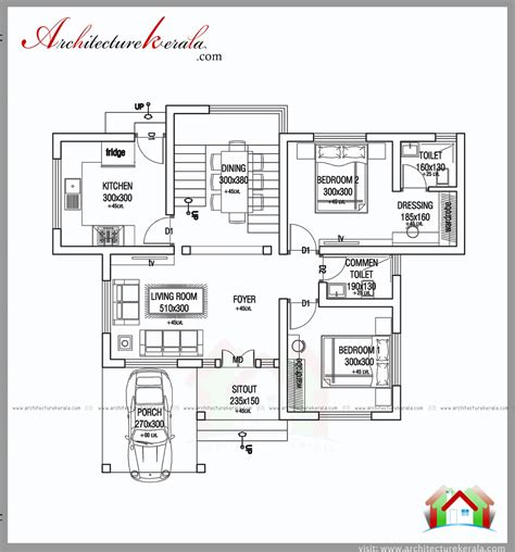 1000 square 2 bed house plan and elevation
