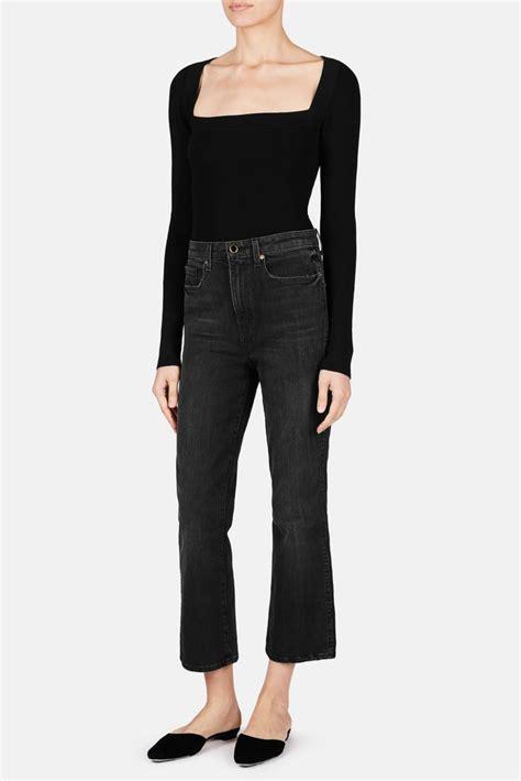 Bennie Crop Sweater benny cropped flare jean vintage black the line