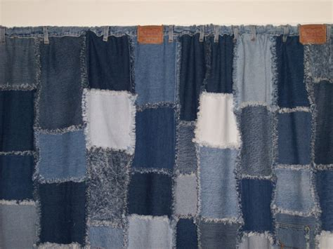 rag quilt curtains denim rag curtains made with waistband and belt loops to