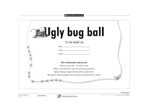 design an invitation ks1 ugly bug ball primary ks1 teaching resource scholastic