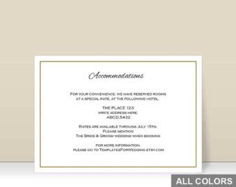 Accommodation Card Printable Template by Accommodation Cards Etsy