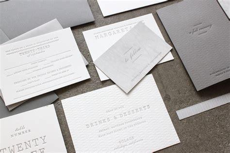 white wedding invitation margaret s understated letterpress wedding