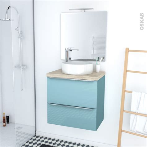 Plan De Toilette Salle De Bain by Ensemble Salle De Bains Meuble Keria Bleu Plan De Toilette