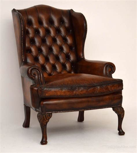 Antique Leather Armchair by Pair Of Antique Leather Wing Armchairs Antiques Atlas