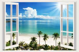 Wall Mural For Nursery small wall stickers tropical sea beach trees decals 3d
