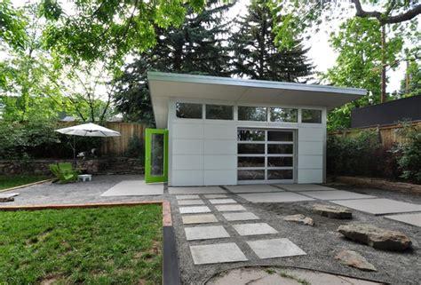 Modern Prefab Garage by Landscaping Outside The Prefab Garage Taking Shape
