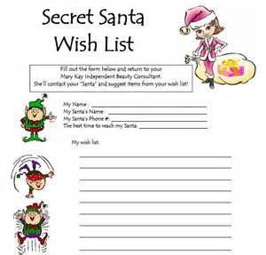 secret santa wish list template ideas check out my website 24 7 at www marykay