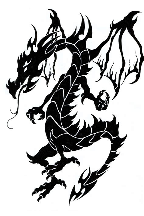 black dragon tattoo black and white clipart best