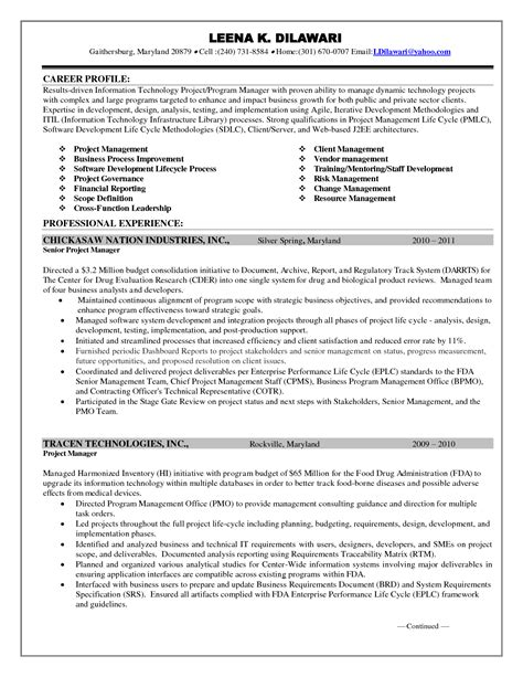 Sle Resume For Project Manager Doc in r t n l project manager resume sle stock images