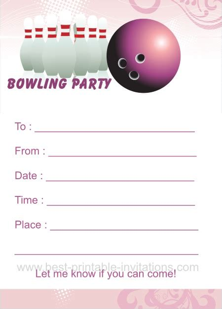 Bowling Birthday Card Template by Bowling Birthday Invitations