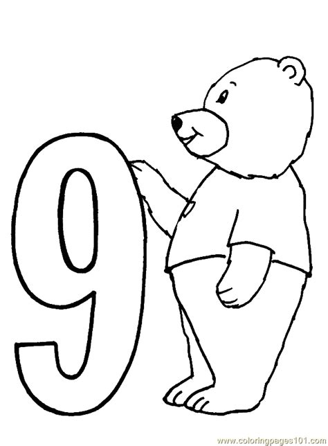 coloring page of number 9 bear number9 coloring page free numbers coloring pages