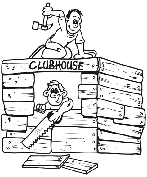 clubhouse coloring pages build house colouring pages