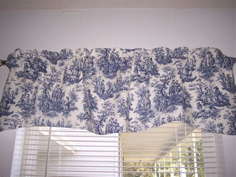 blue pattern valance navy delft blue white waverly rustic toile scalloped lined