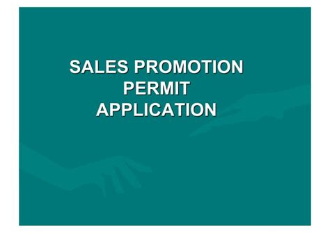 Sales Promotion Letter Ppt dti sales promotion permit application process