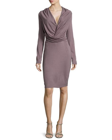 draped long sleeve dress halston long sleeve v neck draped dress sparrow