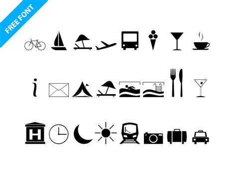 Travel Icon Font   Free Fonts, Icons   Fribly