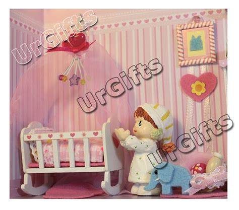 Diy Do It Yourself Miniature House Baby Room dollhouse miniature diy frame kit w light of baby room bedroom sweet