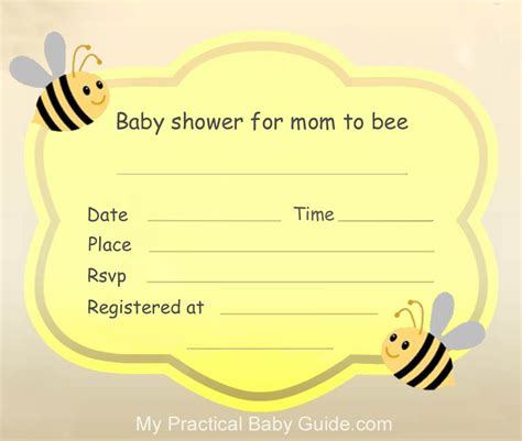 baby template invitation bumble bee baby shower my practical baby shower guide