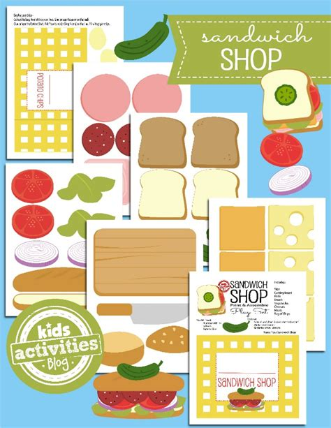 How To Make A Paper Sandwich - printable toys open a paper sandwich shop sandwich shops