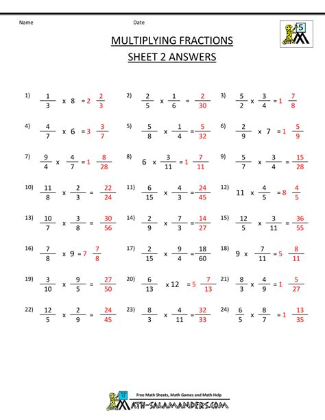 Multiplying Fractions With Whole Numbers Worksheets by Multiplying Fractions