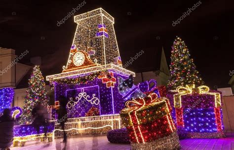 christmas decorations in warsaw poland stock photo