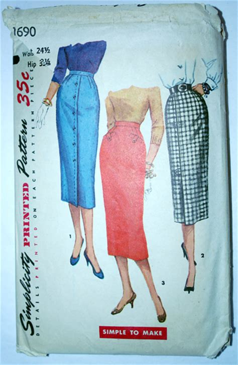 1950s high waisted pencil skirt pattern ballyhoovintage