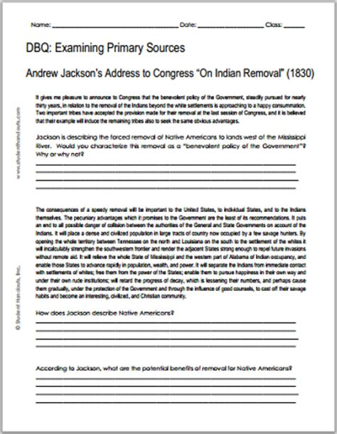 Andrew Jackson Worksheet by Andrew Jackson On Indian Removal 1830 Free