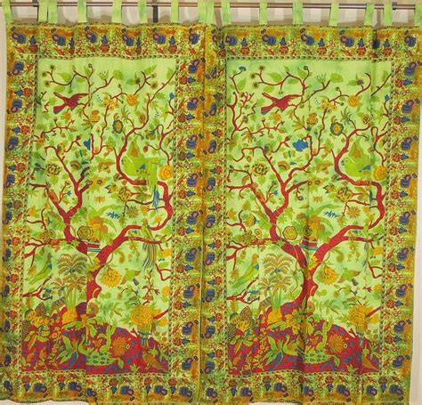 tree of life curtains stylish green window treatments tree of life patterned