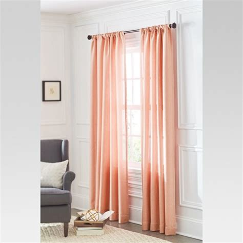 plain coral curtains solid metallic window curtain panel coral 54 quot x84