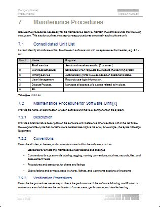 maintenance procedure template maintenance plan template