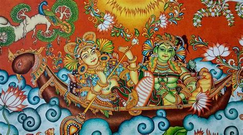Indian Home Decor Online by Rendezvous On The Lake Kerala Mural Painting Painting By