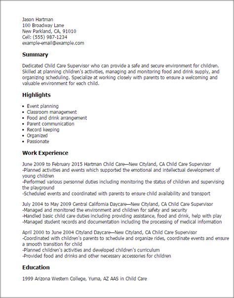 child care cv template professional child care supervisor templates to showcase