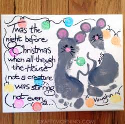 night before christmas footprint mouse canvas crafty morning