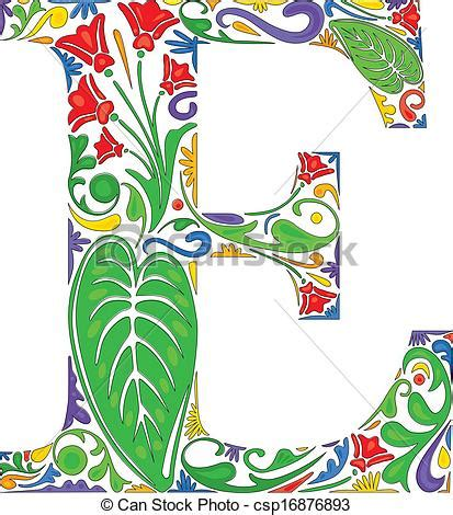 eps vectors of floral e colorful floral initial capital
