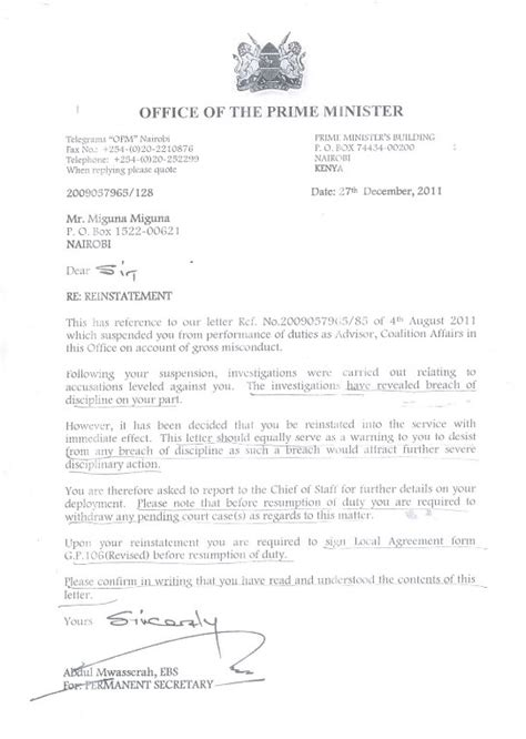reinstatement letter exle kenyans in norway miguna miguna declines pm s job offer