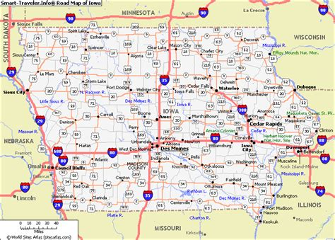 iowa counties road map usa