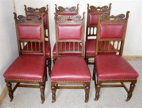 6 Leather Dining Chairs Set Of 6 Edwardian Oak Leather Dining Chairs Antiques Atlas