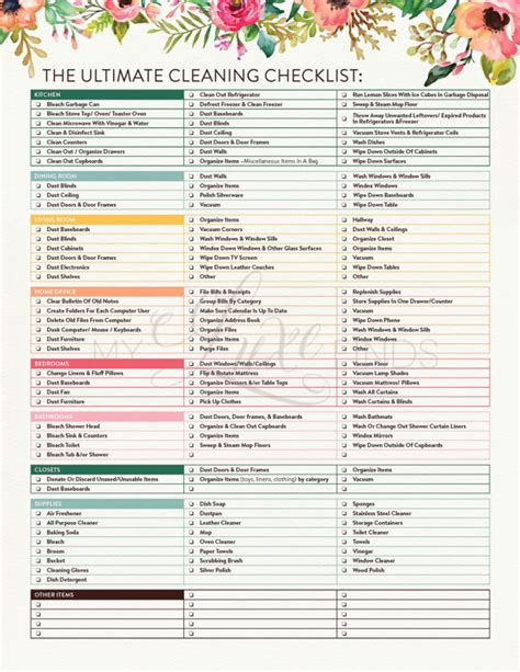printable house pdf the ultimate house cleaning checklist printable pdf