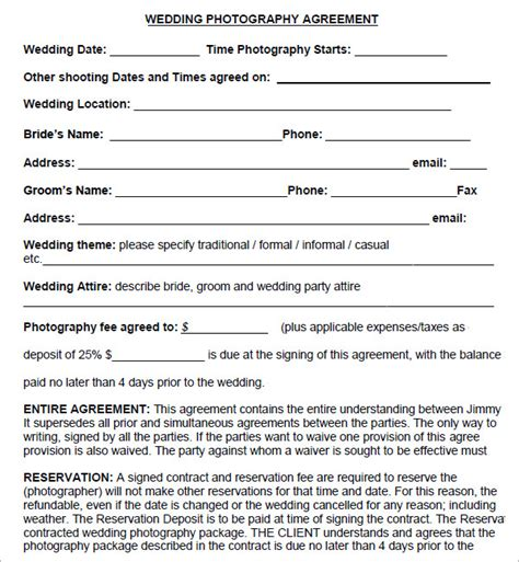 Sle Letter Of Agreement Photography photography contract 7 free pdf sle templates