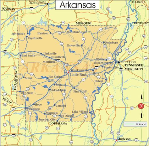 us map arkansas state printable united states map with cities