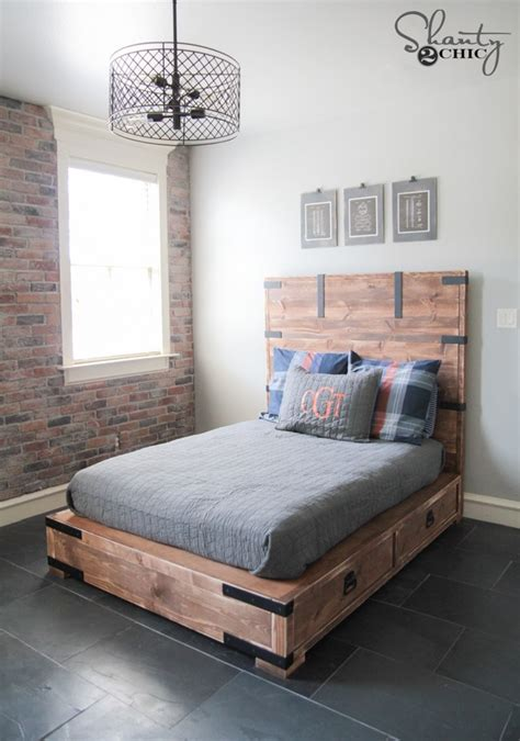 diy full  queen size storage bed shanty  chic