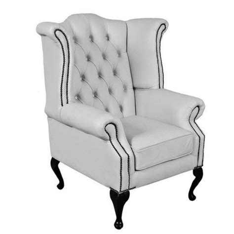 queen armchair chesterfield shelly white genuine leather queen anne armchair