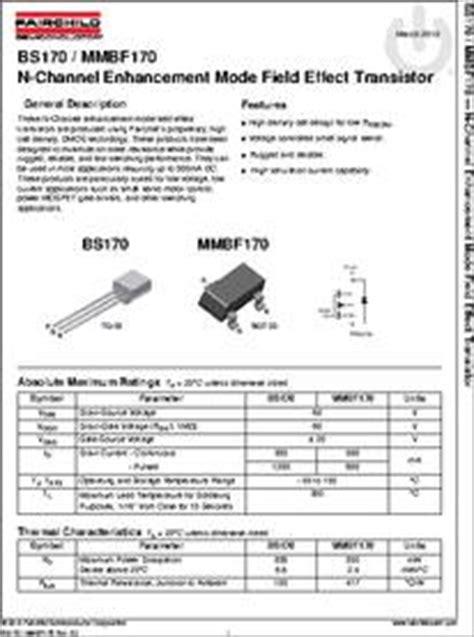 transistor bs170 datasheet bs170 d75z datasheet specifications manufacturer fairchild semiconductor