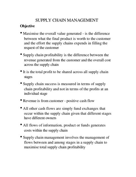Supply Chain Management Notes For Mba by 13821319 Notes On Supply Chain Management