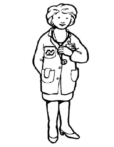 woman doctor coloring page female doctor in community helpers coloring page netart